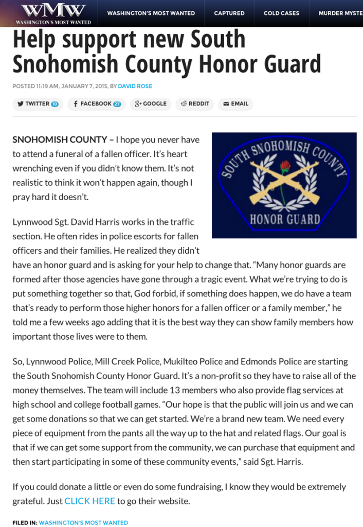 South Snohomish County Honor Guard | In The News | Washington's Most Wanted article