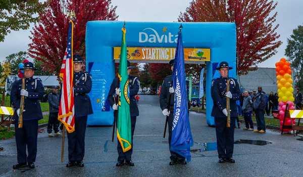 South Snohomish County Honor Guard in action at Tour DaVita in Monroe, WA 10/08/2017 photo.